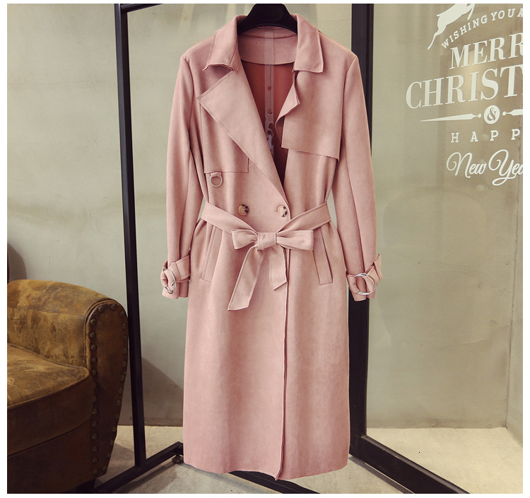 Autumn Spring Long Faux   Leather     Suede   Trench Women Plus Size Fall Ladies White Green Blue Large Size Faux   Suede   Coat