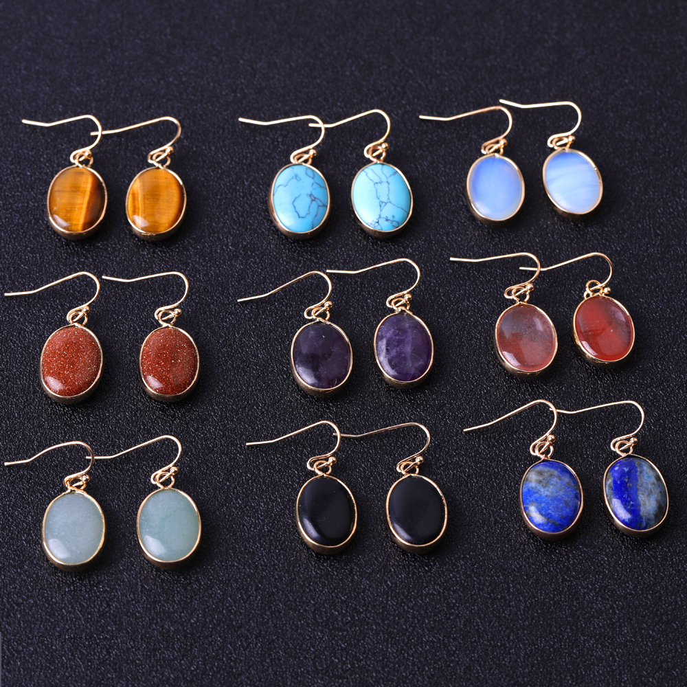 New natural gem earrings gold plated bezel fashion natural stone earrings