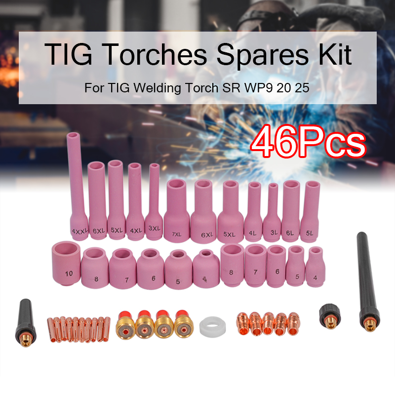 Gas TIG 20 TIG Lens WP9 Welding Collet Set Size SR Torches Assorted Body For Torch Kit Tools 25 46Pcs TIG Welding