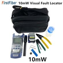 FC 6S 광섬유 절단기 및 광 파워 미터가있는 FTTH 광섬유 툴 키트 10km/10mW 시각 장애 탐지기 와이어 스트리퍼