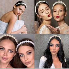 Simulation Pearl Hairbands Women Hair Accessories Korean Handmade Bow Flower Hoops Headband Wedding Jewelry 2021 New