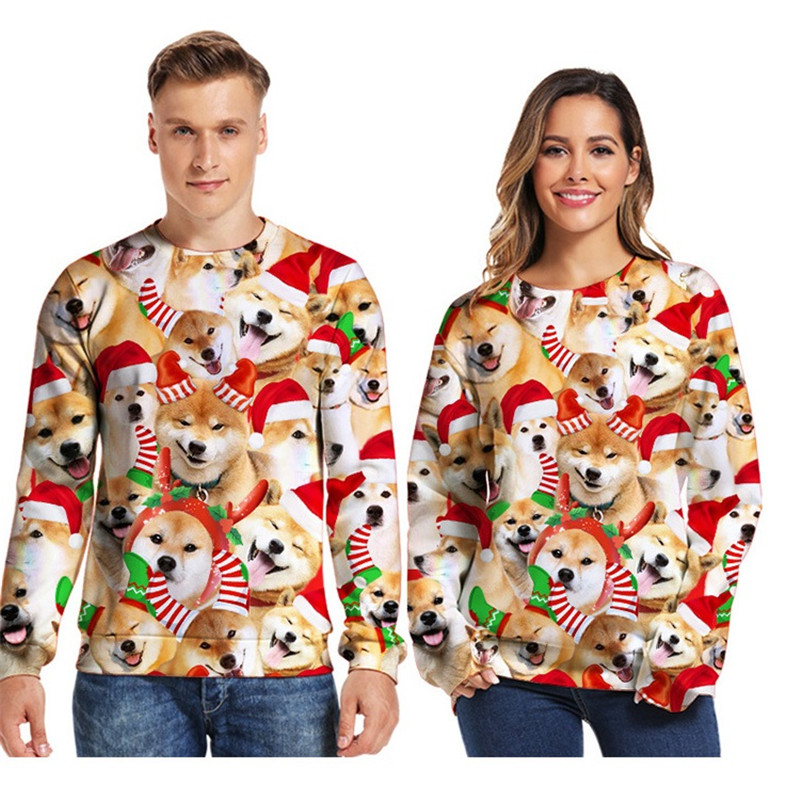 Ugly Christmas Sweaters Jumpers Tops Men Women Holiday Party 2019 Crewneck Long Sleeve Funny Dog Print 3D Hoodie Sweatshirt