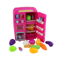 Safe Birthday Play House Colorful Light Kids Double door Refrigerator Gifts Steam Toy Set Electric Simulated Educational Small