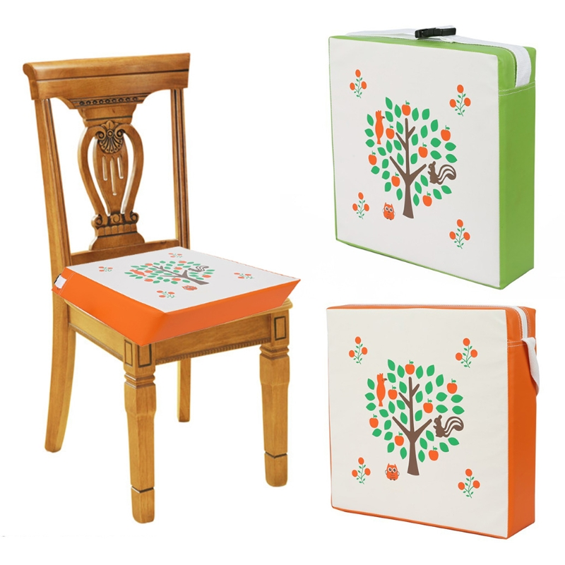 Children Increased Chair Pad Baby Dining Cushion Adjustable Removable PU Leather Waterproof Highchair Thicken Sponge Seat Booste