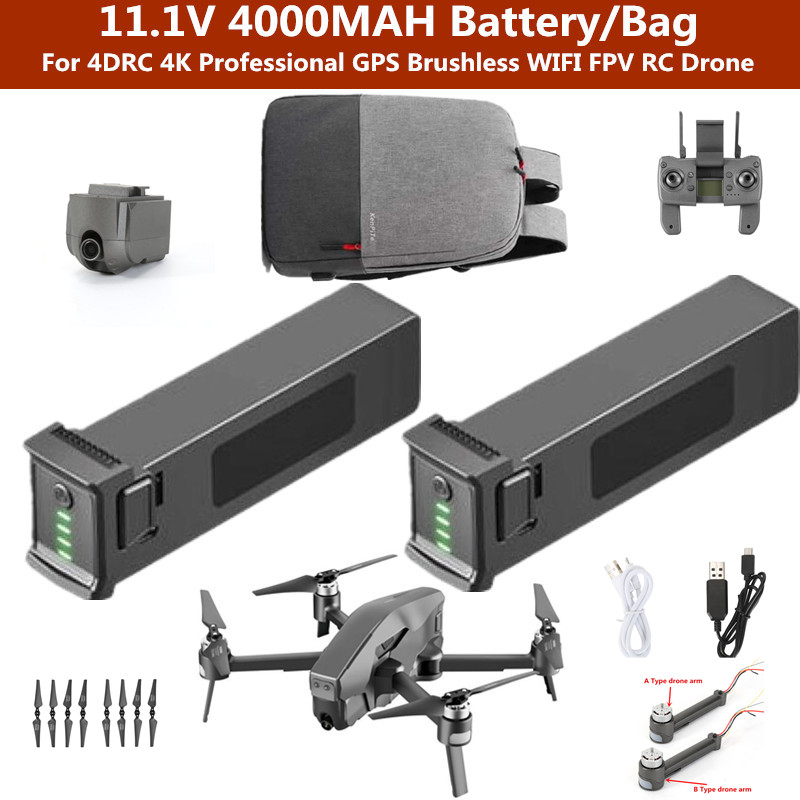 11.1V 4000MAH battery Drone Bag For 4DRC 4K Professional GPS Brushless WIFI FPV RC Drone Spare parts batteryParts & Accessories   -