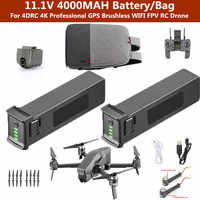 11.1V 4000MAH battery Drone Bag For 4DRC 4K Professional GPS Brushless WIFI FPV RC Drone Spare parts battery