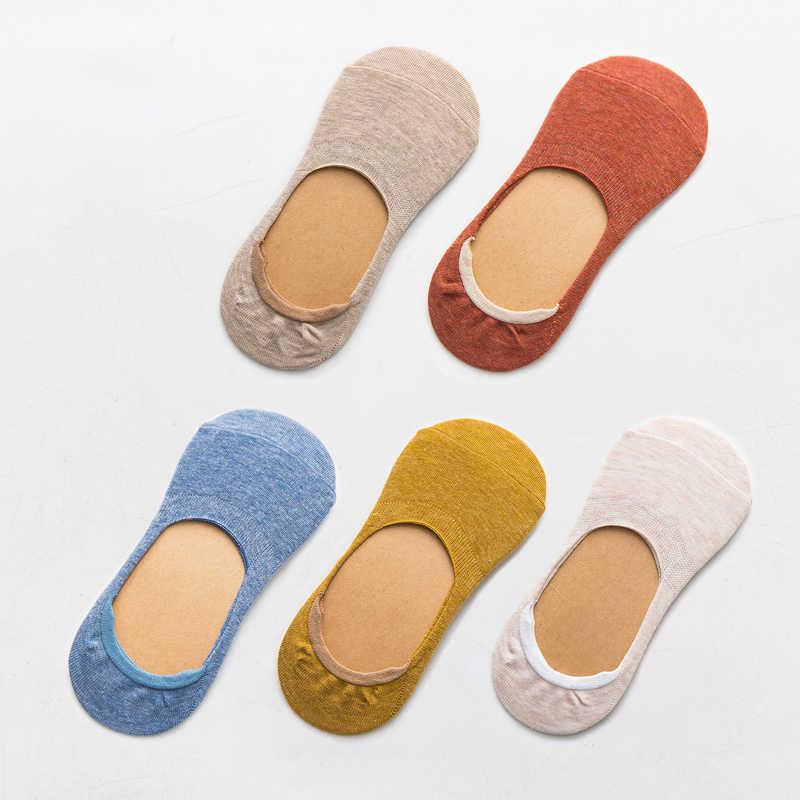 10 pieces = 5 pairs 봄 여름 여성 양말 단색 패션 야생 얕은 입 felmen 여자 여성 보이지 않는 슬리퍼 양말