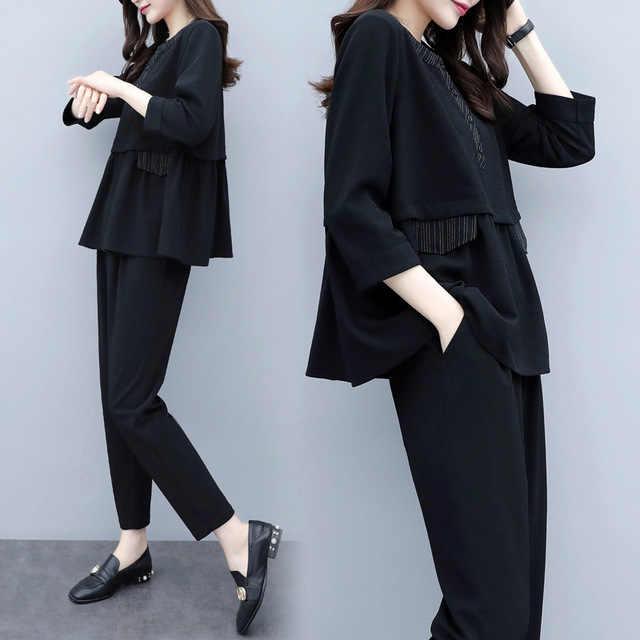 (Chaqueta + Pantalones) juego de 2 piezas traje de oficina para mujer negro conjuntos de negocios con pantalones trajes de pantalón Formal para mujer