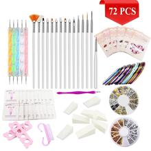 Nail Art Set 72 PCS Kit Brush Striping Tape,Nail Polish Remover Tissue Sponge Dotting Pen
