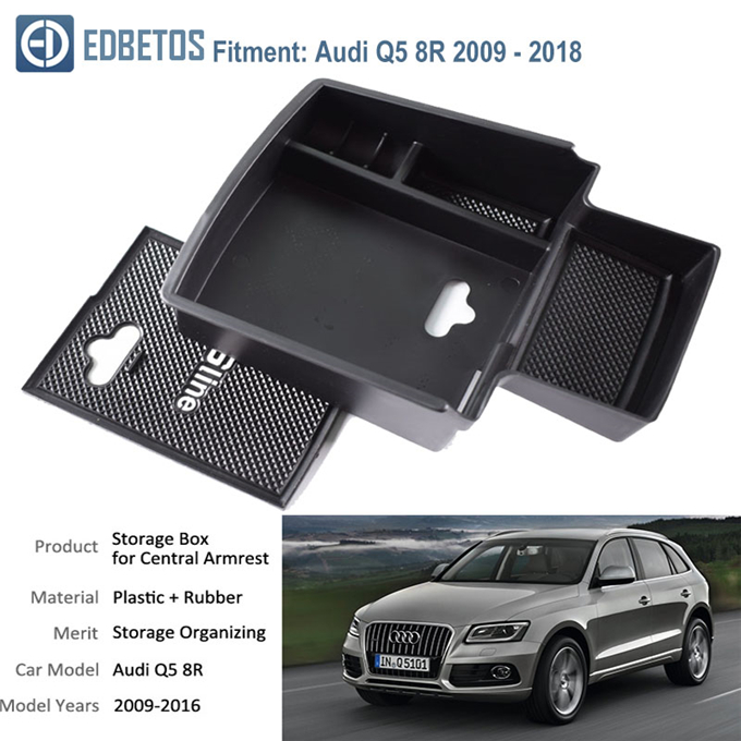 Armrest Box for Audi Q5 Center Console Organizer Insert ABS Black Materials Tray Secondary Storage Liner Accessories Custom Fit Cup