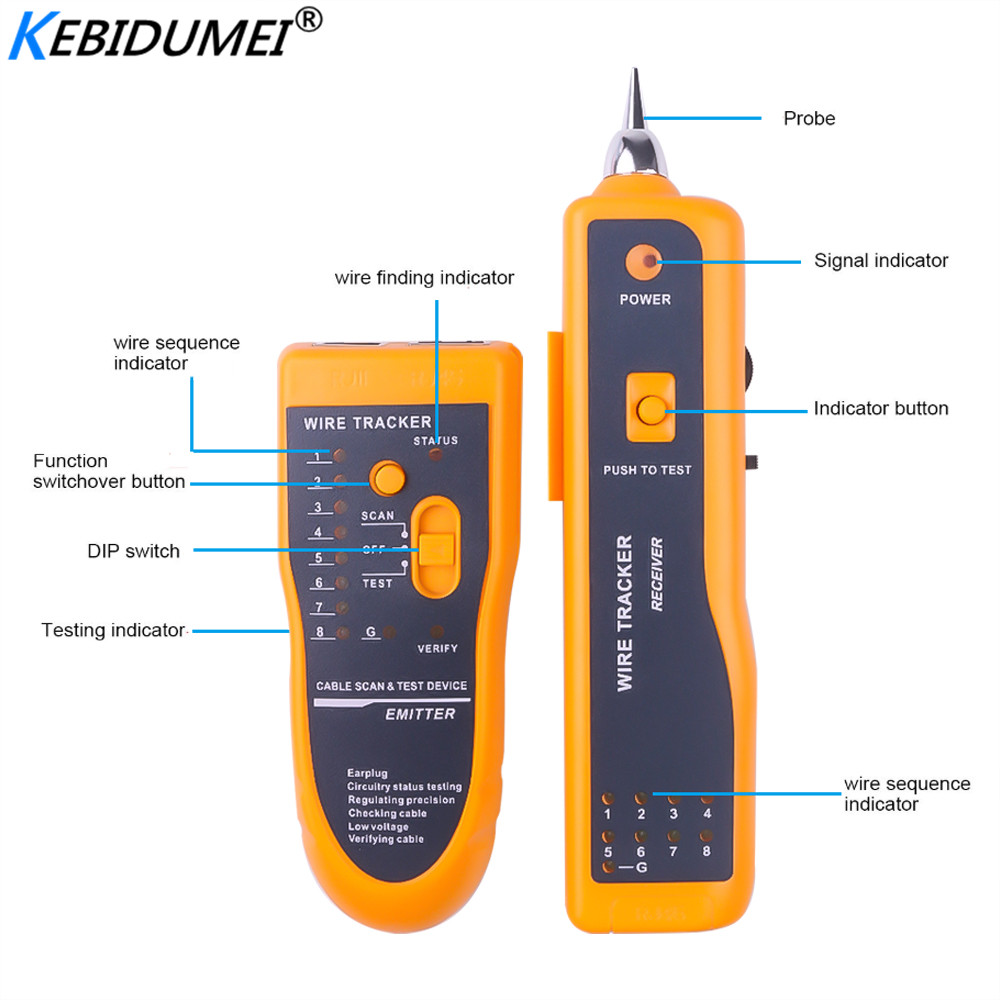 HOT Network Cable Tester Detector RJ11 RJ45 Cat5 Cat6 Telephone Wire Tracker Tracer Toner Ethernet LAN Line-Finder Tool