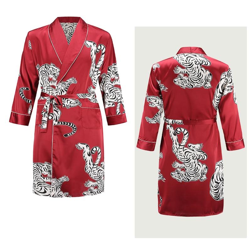 Nightgown Men's Summer Bathrobe Tiger Nightgown Loose Wedding Robe Silky Long Sleeve Sleeprobe Plus Size Home Wear Penoir Homme