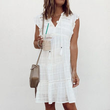 Vestido de verano corto de algodón liso con Manga mariposa, cuello en v, borlas, 2021