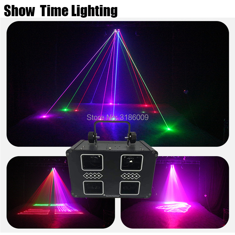 Show Time 4Lens Double Floor Line Scan Square Laser RGB 3IN1 Full Color Disco Laser Dj Good Use For Home Party KTV Night CLub|Stage Lighting Effect| |  - title=