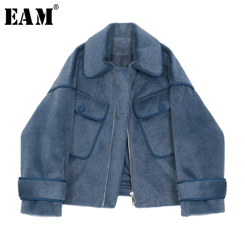 [EAM] Loose Fit Blue Pocket Split Joint Big Size Short Jacket New Lapel Long Sleeve Women Coat Fashion Tide Spring 2020 1R684