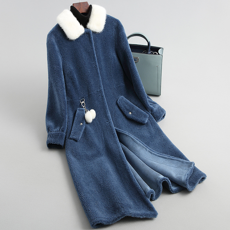 Fur Wool Real Coat Natural Mink Fur Collar 2020 New Sheep Shearing Coats Winter Jacket Women Long Warm Overcoat WYQ2050 S