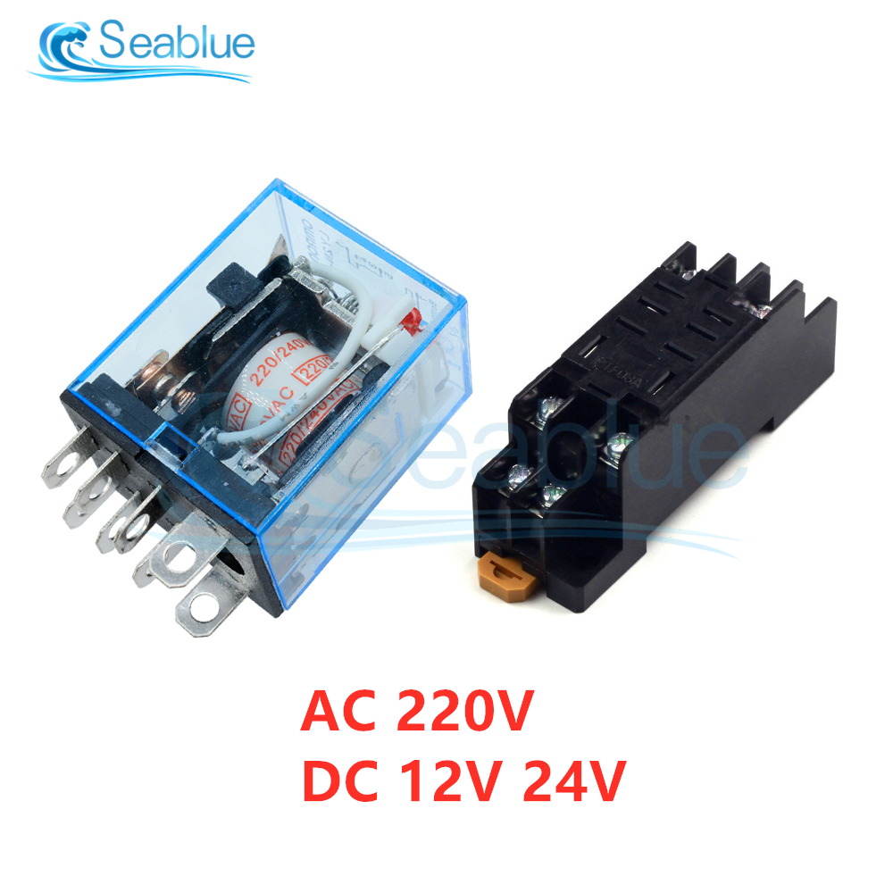 1 шт. AC 220 В DC 12 В 24 В LY2NJ мини микро электромагнитное реле Модуль 10A 8 Pin катушка реле питания DPDT с гнездом
