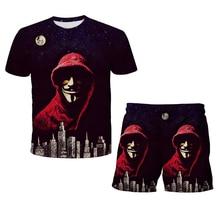 La casa de papel 2 Pcs Clothing Sets Tshirts+Pants summer Boys Clothes Suits Children Shorts Short Sleeve Boy Girls Beach Shorts