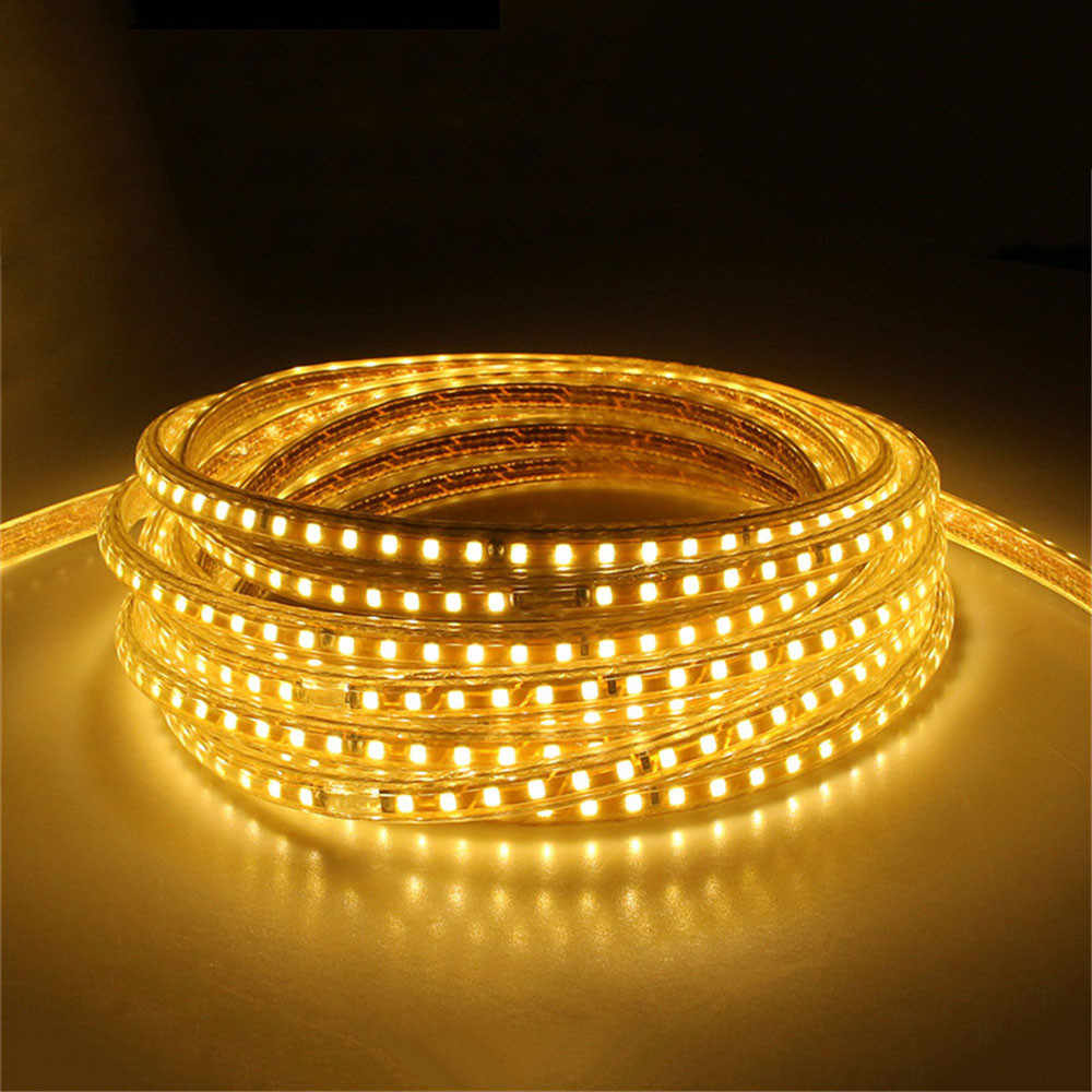 220V กันน้ำไฟ LED Strip EU Plug 2835 SMD เชือกไฟ, 120 LEDs/M ความสว่างสูงตกแต่งกลางแจ้งในร่ม