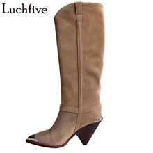 Boots Femme Brown Suede High-Heels Nude Women Spike Pointy for Retro Winter Toe Old-Made