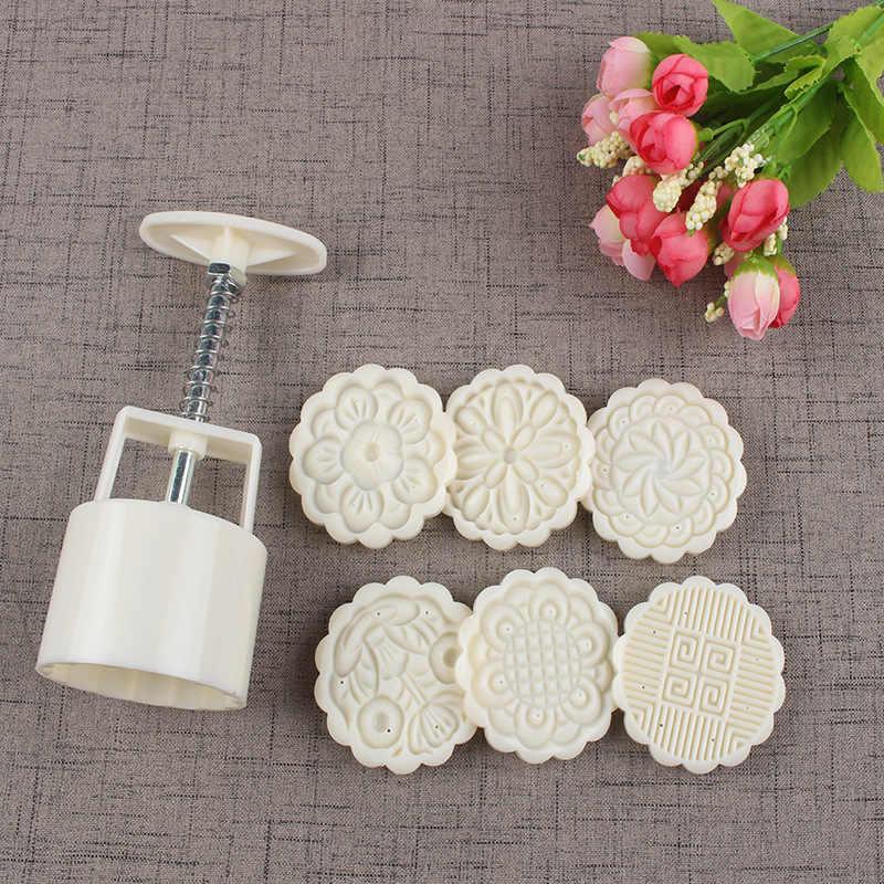 75G 6 Gaya 3D Bulat Bunga Kue Bulan Cetakan Tekanan Tangan Fondant Kue Bulan Dekorasi Alat Pemotong Kue Pastry Baking alat