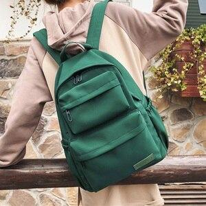 Image 5 - HOCODO Backpack For Women Solid Color School Bag For Teenage Girls Shoulder Travel Bag Multi Pocket Nylon Back pack Mochila 2019