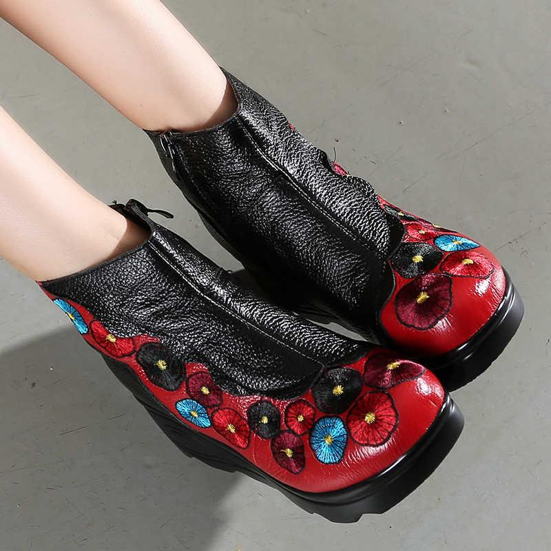 Gktinoo Thời Trang Handmade Giày Bốt Nữ Da Thật Chính Hãng Da Mắt Cá Chân Giày Vintage Nền Tảng Nữ Giày Nữ Vòng Ngón Chân Nêm Giày