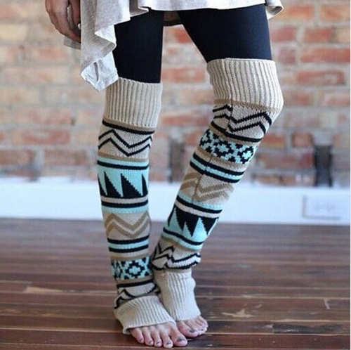 Women Ladies Winter Spring Knit Crochet Leg Warmers Boots Knee Trim Boot Legging Warmer Solid Color Body Warmer Polainas