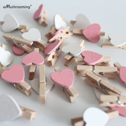 x25 Pink White Heart Mini Pegs Baby Girl Shower Photo Banner Clips Small Wooden Clothespins Kids DIY Projects Supplies