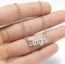 2020 Nieuwe Mode Gothic Punk Meisjes Rvs Angel Brief Kettingen Vrouwen Oude Engels Ketting Babygirl Prinses Choker(China)