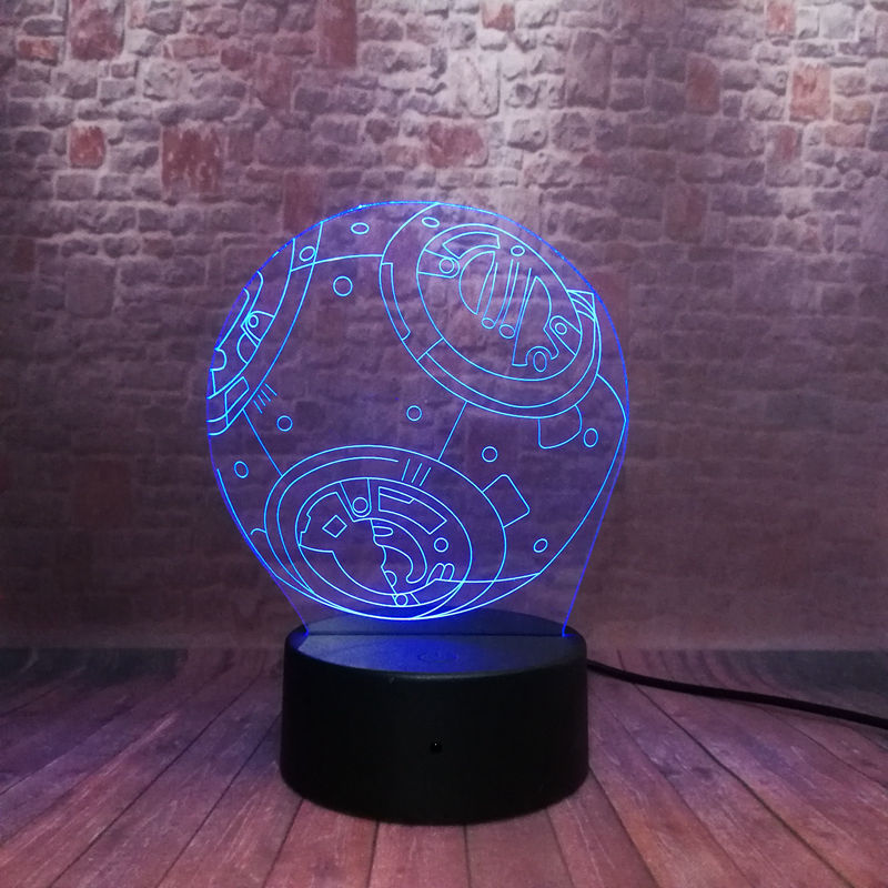 Cool 3D Illusion LED Nightlight 7 Colors Changing Light Star Wars BB-8 Droid Robot action & toy figures