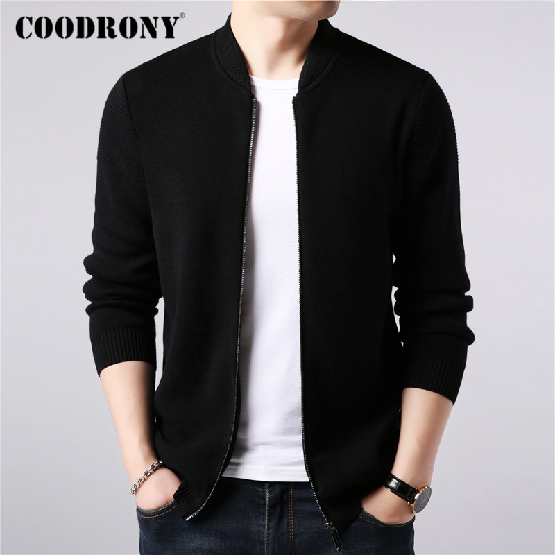 COODRONY Coat Men Sweater Wool-Cardigan Zipper Cashmere Winter New-Arrivals Thick Brand title=