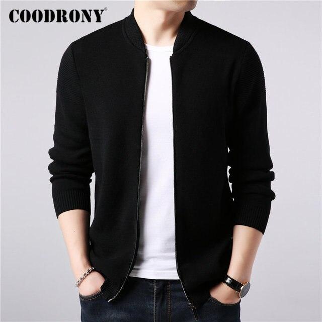 COODRONY ยี่ห้อเสื้อกันหนาวผู้ชายผ้าขนสัตว์ชนิดหนึ่งขนสัตว์ Cardigan เสื้อผ้าผู้ชาย 2019 ใหม่ฤดูใบไม้ร่วงฤดูหนาวหนาอบอุ่นเสื้อโค้ทซิป 91088