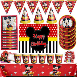 Disney Mickey Mouse Party Decoration Baby Shower Birthday Party Supplies Set Disposable Cup Plate Tablecloth Napkins For Kids