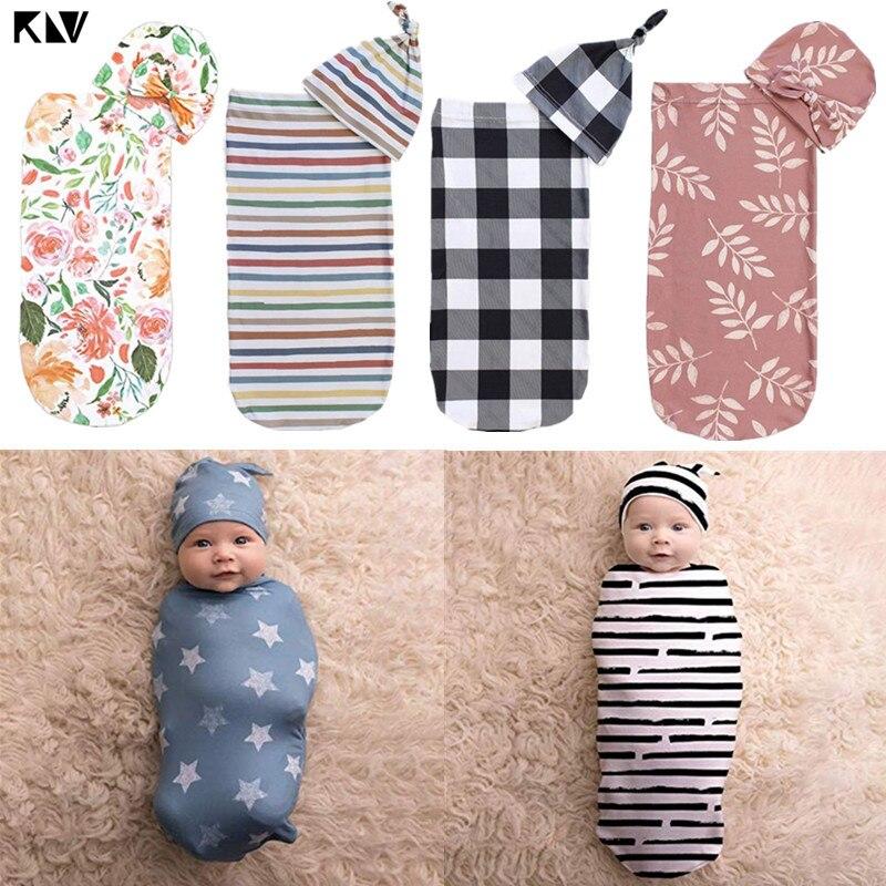 KLV Baby Wrap Sleeping Bag Cute Blanket with Hat Swaddle Set Newborn Anti-shock Soft Skin-friendly Towel Infant Gifts