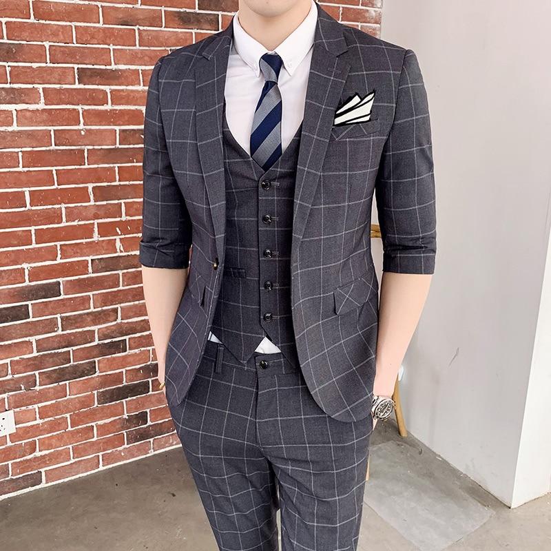 Для мужчин ne Для мужчин, Костюм Джентльмена на английском языке корейские Клетчатые Фланелевые семь комплект одежды с длинным рукавом сред...