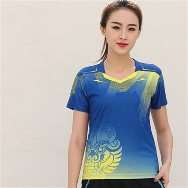 Быстросохнущая, впитывающая пот и дышащая рубашка для бадминтона, топ для соревнований, тренировочный костюм для бега, мужской и женский короткий рукав - Цвет: 1810Bfemale2