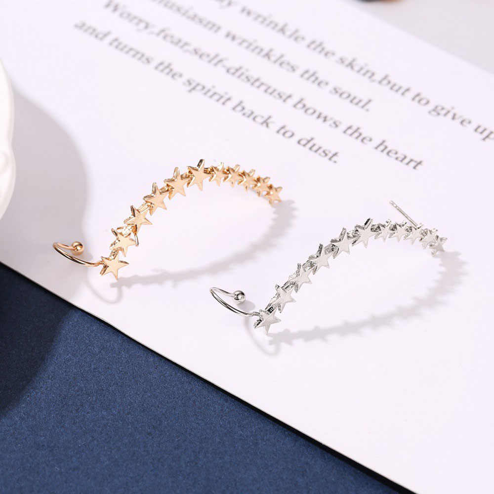 แฟชั่นผู้หญิงต่างหู Silver Gold Star Shape หูยาว Cuffs Bohemian คริสตัลคลิปบนหูข้อมือสำหรับผู้หญิงเครื่องประดับ