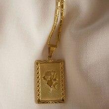 Collar de acero inoxidable chapado en oro de 18K para mujer, cadena con colgante de placa cuadrada con forma de rosa, Estilo Vintage, respetuoso con el medio ambiente