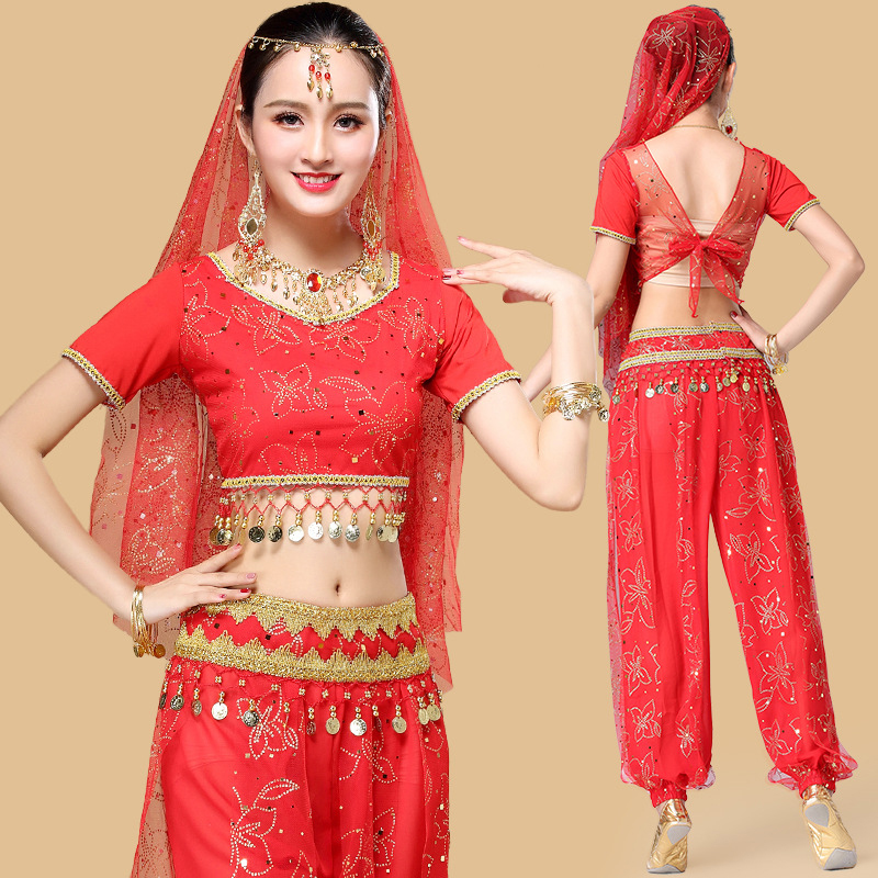 New Belly Dance Sequins Costume Bollywood Indian Dance Dress Party Top Pants Set