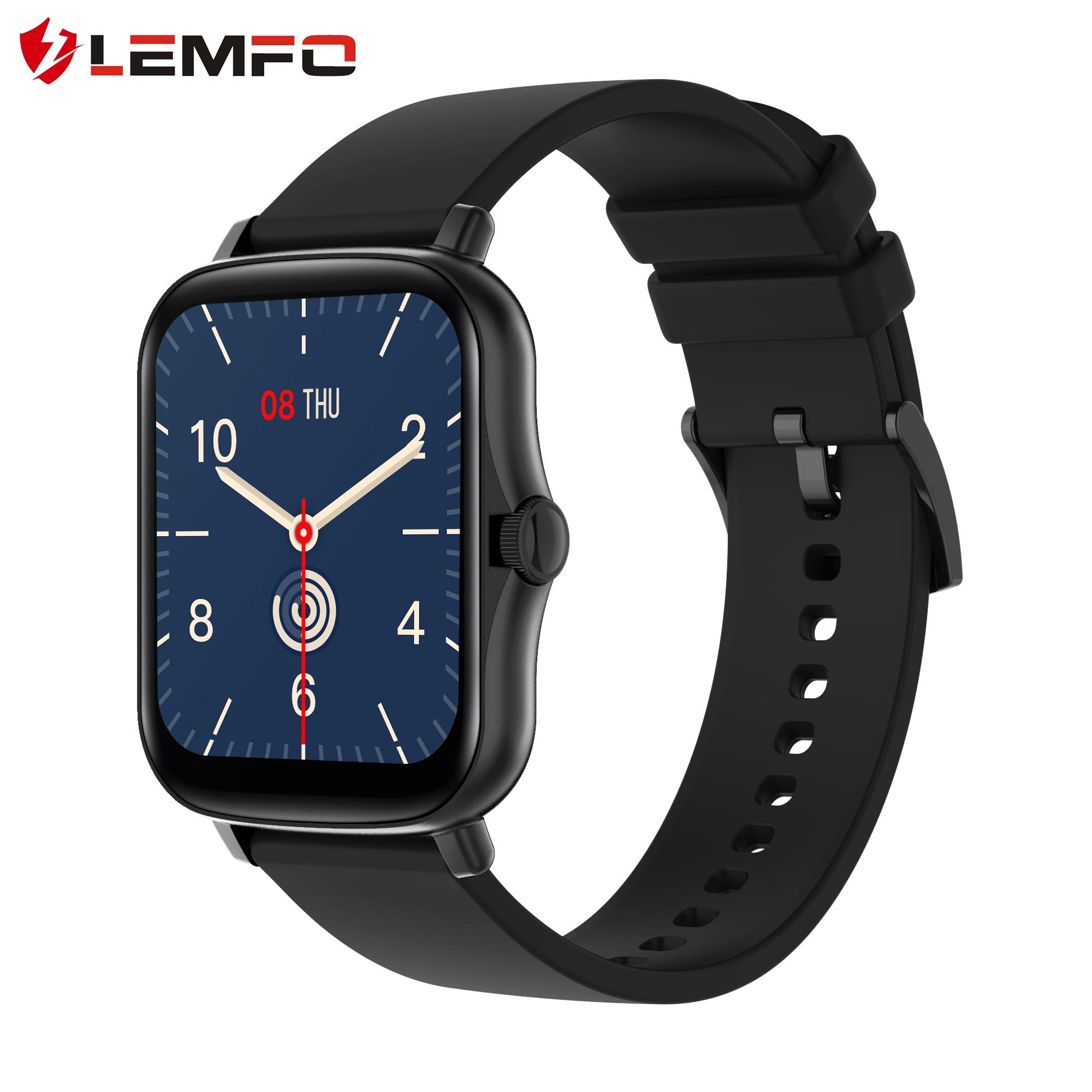 Lemfo relógio inteligente 2021 das mulheres dos homens 1.69 polegada tela sensível ao toque completo rastreador de fitness ip67 à prova dip67 água gts 2 2e smartwatch pk p8 plus