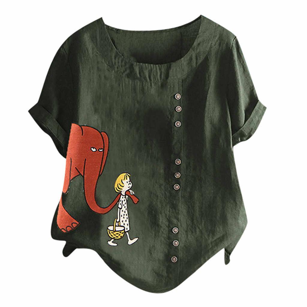 新しいtシャツ女性カジュアルプラスサイズoネックプリントルーズボタンチュニックトップスオーファムcamiseta mujerトップ女性原宿tシャツ