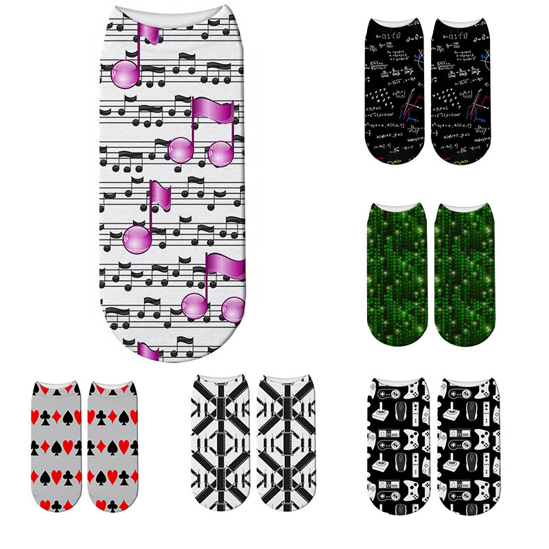 New Fashion Code Math Letters Socks Men Women Socks Fun Poker Fish Scale Musical Note 3D Printed Socks Game Handle Mouse Socks