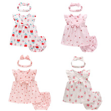 2019 New Baby Girls Summer Clothes Fashion Cotton Set Printed Fruit Princess Suit for Agirl T-Shirt + Shorts Children'S Clothing