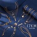 17 км новое Золотое ожерелье с буквенным именем для женщин, многослойные Подвески с надписями, ожерелья 2020, модные богемные ювелирные издели...