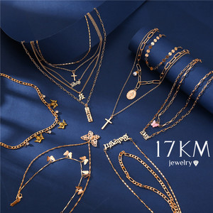 17KM Gold Color Letter Name Necklace For Women Multi Layer Word Personalize Pendants Necklaces 2020 Fashion Bohemian Jewelry