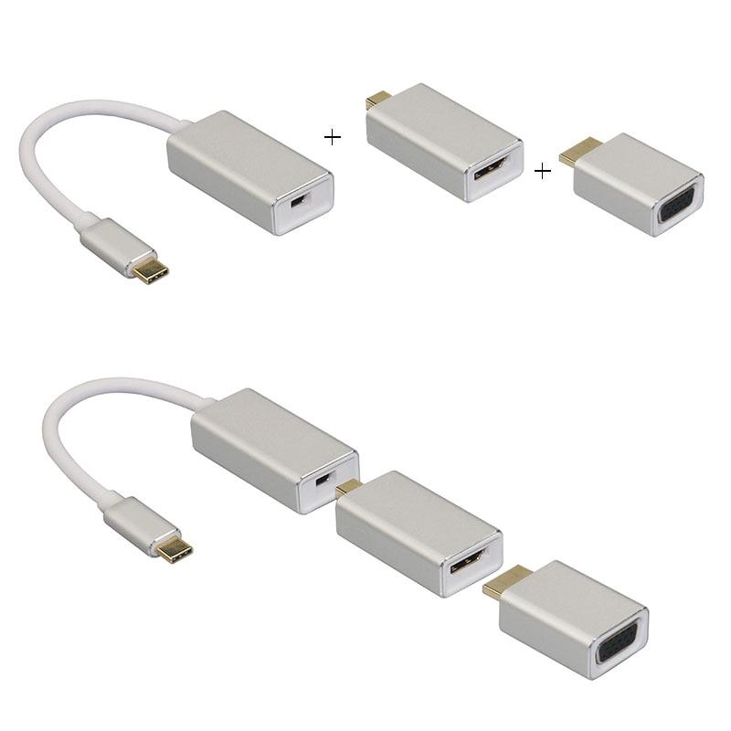 Tout en 1 USB C 3.1 Type C à Mini Displayport adaptateur Dp prise en charge 4k mâle à femelle Hdtv convertisseur câble VGA HDMI pour Macbook Pro
