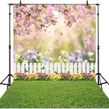 Fence Background Easter Garden Party Children Baby-Girl Kids Floral Lawn Spring Green-Grass