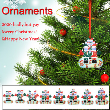 Christmas Decorations For Home Wearing Mask Ornaments,2020 Badly,But Yay Merry Christmas Tree Family Decoration рождество image
