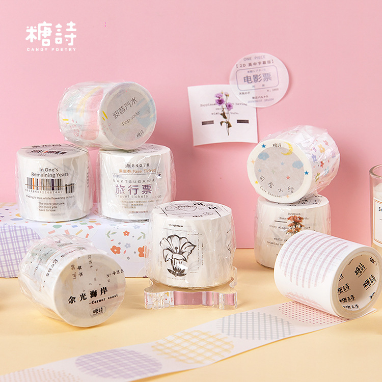 Mohamm 40mmX3m 1PCS A Round Label Series Kawaii Fresh Washi Masking Tape Paper Scrapbooking Stationery Decorative Tape